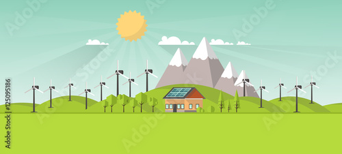 Poster Lime groen Eco Landscape Flat Design. Eco concept. Illustration of solar panel, with wind turbines. Renewable energy vector.