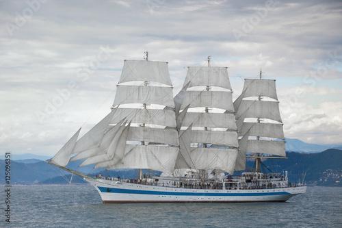 Beautiful old sailing ship in the sea © astreluk