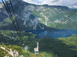canvas print picture - Cable car goes up to mountain Vogel in Bohinj, Slovenia