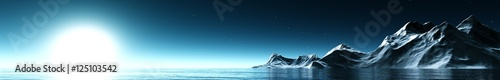 Fotografie, Obraz  panorama seascape under the moonlight