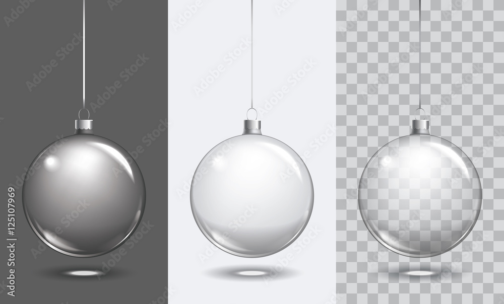 Fototapety, obrazy: Vector christmas glass ball on transparent background. Xmas ball