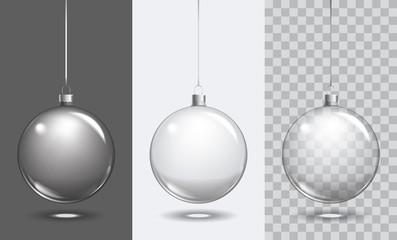Vector christmas glass ball on transparent background. Xmas ball