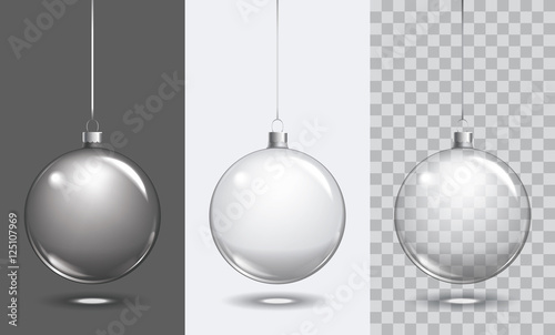Valokuva  Vector christmas glass ball on transparent background. Xmas ball