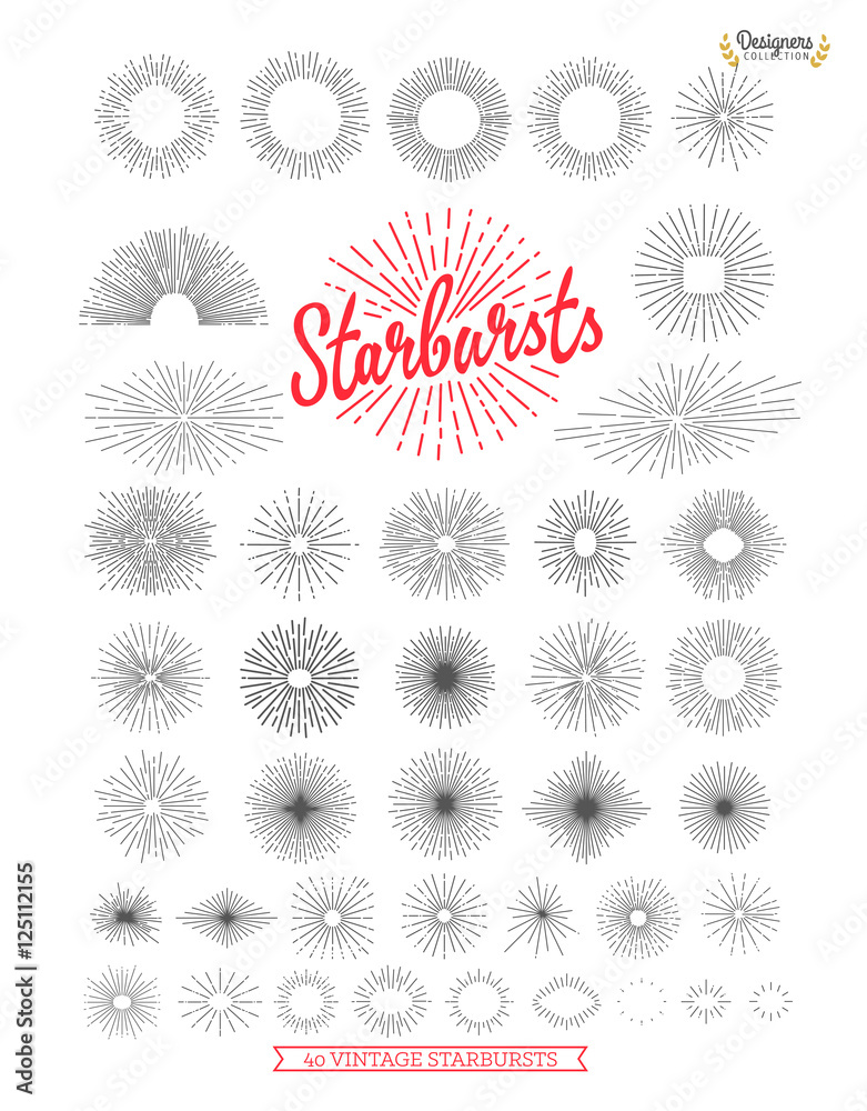 Fototapety, obrazy: Collection of trendy hand drawn retro sunburst/bursting rays design elements