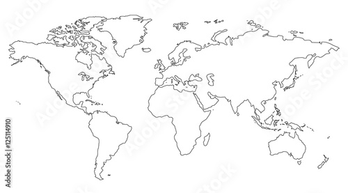 Similar world map blank for infographic isolated on white background ...