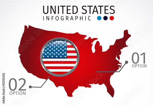 U.S. Map Silhouette Element United States Data Infographic with Icon ...