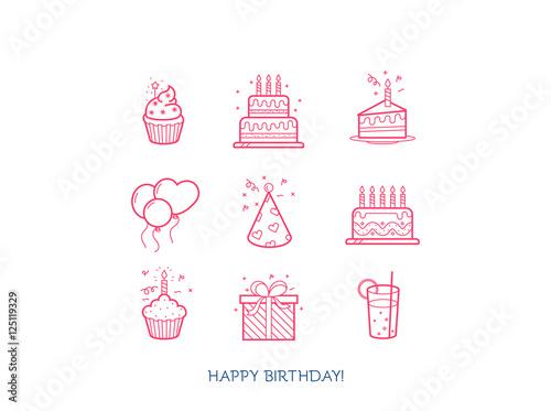 Obraz na plátne  Happy Birthday line icon collection