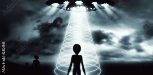 Poster UFO Alien in Dark Night. Horror Abstract Background.