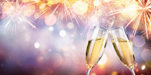 Congratulation With Champagne - Toast With Flutes And Fireworks