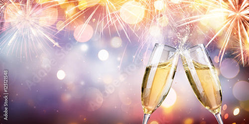 Photo  Congratulation With Champagne - Toast With Flutes And Fireworks