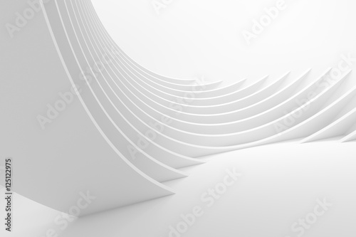 Spoed Foto op Canvas Abstract wave White Architecture Circular Background