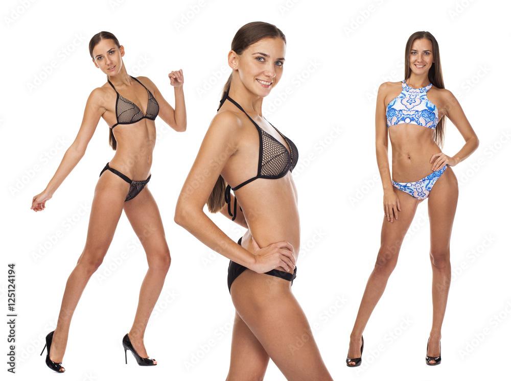 Fototapeta Portrait of a young beautiful woman in a bathing suit - bikini - obraz na płótnie
