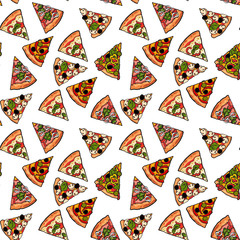 FototapetaSeamless pattern of various pizza slices, sketch style vector illustration. Textile, wrapping paper, print design for Italian pizza cafe, restaurant, fast food. Seamless background with pizza slices