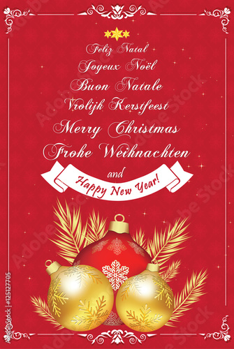 Christmas Wishes In Many Languages Greeting Card With Snowflakes