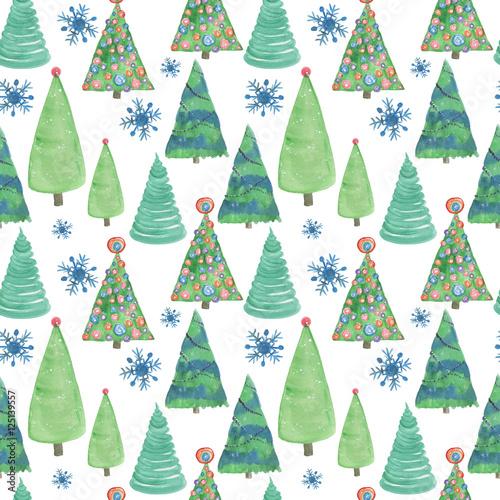 Stoffe zum Nähen Aquarellmalerei Musterdesign mit Weihnachtsbaum
