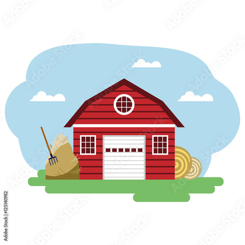 Papiers peints Piscine Vector illustration of red farm building and related items.
