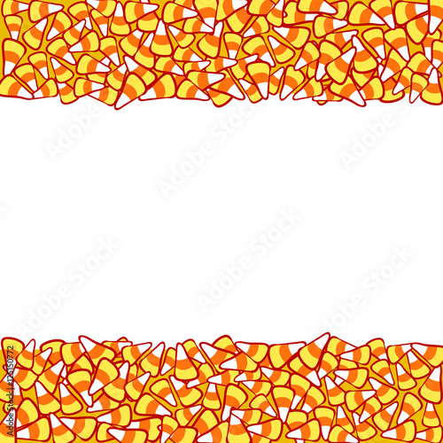 Candy Corn Double Border Isolated On White Halloween