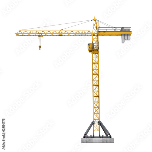 Fotografia Rendering of yellow tower crane full-height isolated on the white background