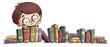 canvas print picture niño con estanteria de libros