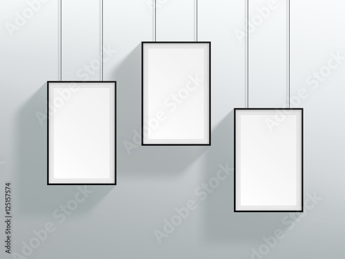 Vector 3 Blank Black Realistic Hanging Frames Design - Buy this ...