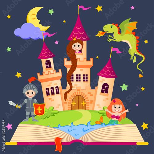 Fotografie, Obraz  Fairytale book with castle, princess, knight, mermaid, dragon