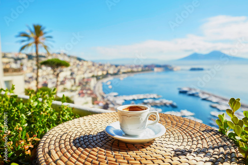 In de dag Napels Cup of espresso coffee with view on Vesuvius mount in Naples