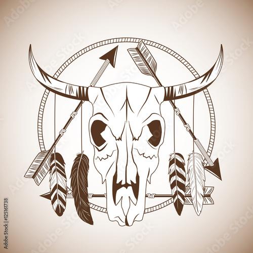 Fotografie, Obraz  Bull skull icon