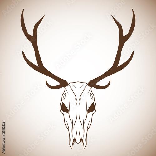 Keuken foto achterwand Waterverf Illustraties Deer skull icon. boho style bohemic ornament indian and decoration theme. Pastel background. Vector illustration