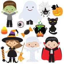 Halloween Children Vector Cartoon Illustration