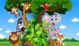 Fototapeta Pokój dzieciecy - funny animal cartoon with forest background