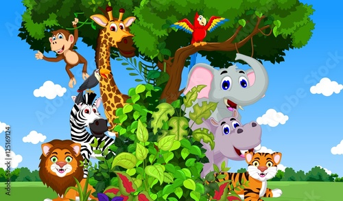 funny animal cartoon with forest background #125169124