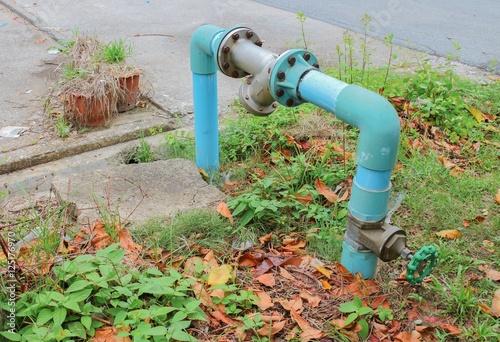 Fototapeta Water valve Plumbing Steel.  Drink water pipes Steel joints obraz na płótnie