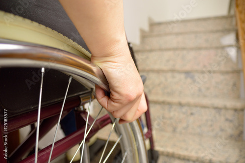 Fotografie, Obraz  wheelchair and stairs