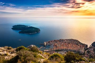 Panel Szklany Podświetlane Panorama Malerischer Ausblick auf Dubrovnik
