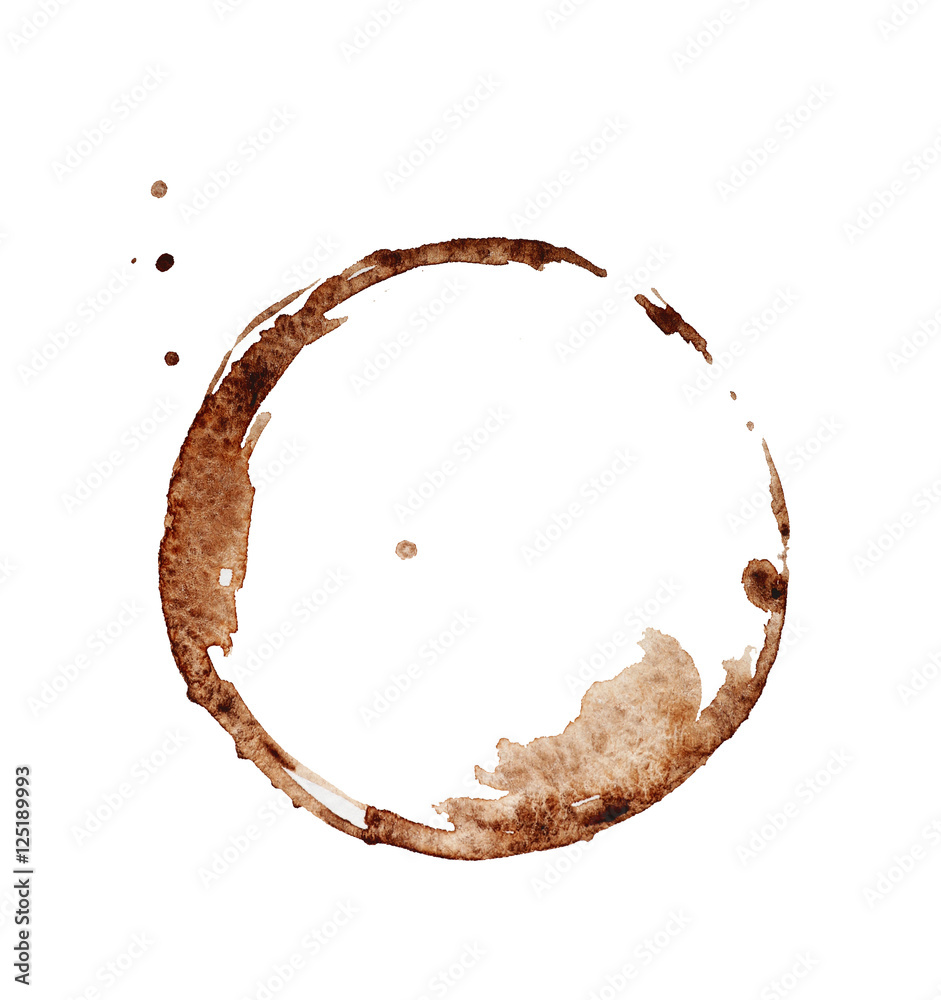 Fototapety, obrazy: Coffee stain on white background, closeup