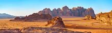 Wadi Rum Desert In Jordan. On The Sunset