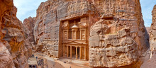 The Temple-mausoleum Of Al Khazneh In The Ancient City Of Petra In Jordan