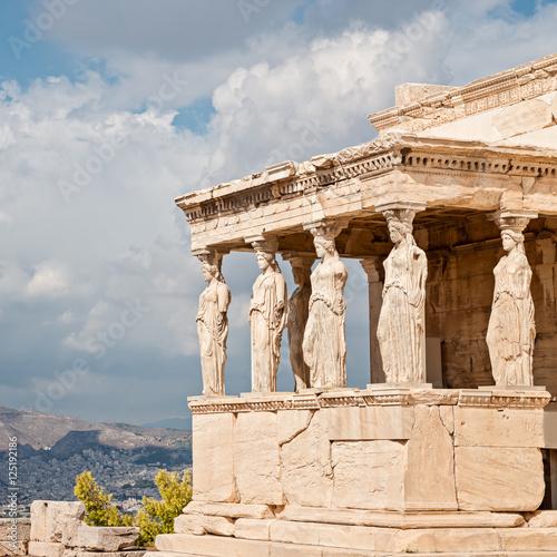 Zdjęcie XXL Akropol, wzniesienie, kariatydy z panoramicznym widokiem na Ateny, Grecja