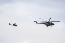 Two Military Helicopter On Clo...