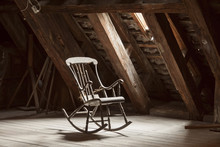 Wooden Rocking Chair In Attic