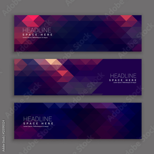 Fototapeta abstract purple shapes banners template obraz