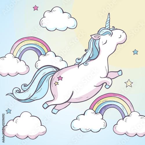 Fotografie, Obraz  Cartoon magic unicorn.