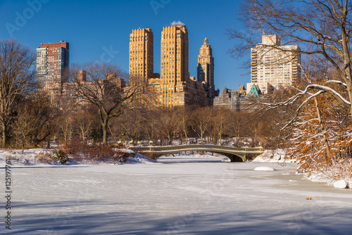 Photo Stands New York Frozen Central Park Lake with the Bow Bridge. Morning view of Upper West Side buildings in Winter. Manhattan, New York City