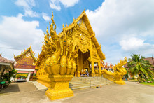Beautiful Gold Church In Sri Pan Ton Temple At Nan Province, Thailand