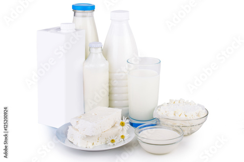 Staande foto Zuivelproducten Dairy products. On white, isolated background.