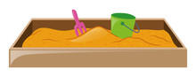 Sandpit With Fork And Bucket