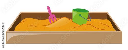 Fotografie, Obraz Sandpit with fork and bucket