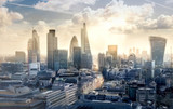 Fototapeta Londyn - City of London at sunset. View on modern business district