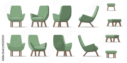 Fototapeta Illustration of an armchair in different perspectives