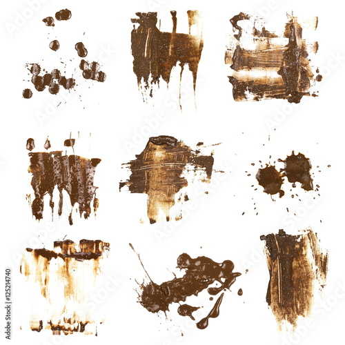 Fotografía  set drops of mud sprayed isolated on white background, collection stain with cli